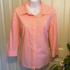 Karen Scott plaid button up shirt
